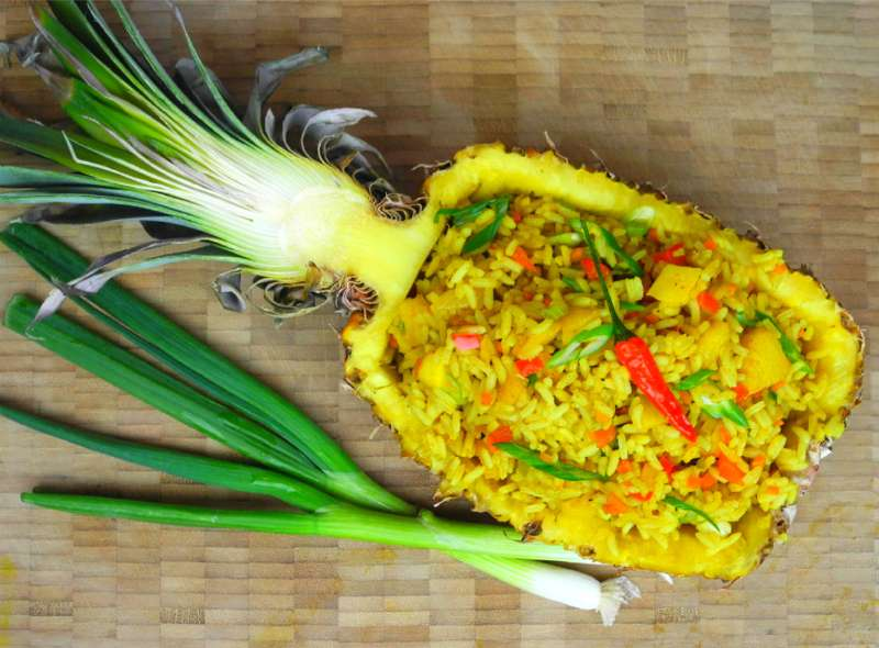 Festive Vegetarian Pineapple Fried Rice.   CaribbeanPot.com