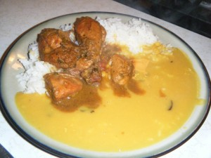 dhal rice and curry chicken