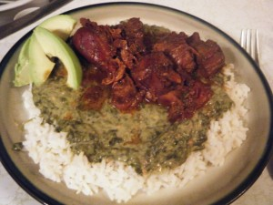 stew chicken and callaloo