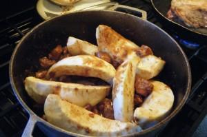 steam breadfruit and stew pork