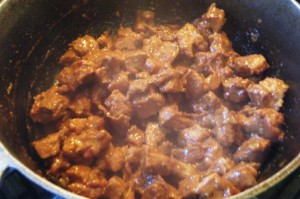 stew pork for breadfruit