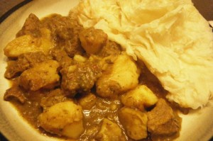 curry beef with potato and roti
