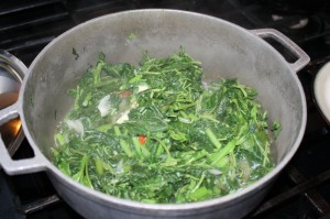 cooking callaloo