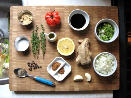 A non traditional stove top jerk chicken caribbeanpot place all the ingredients forumfinder Choice Image