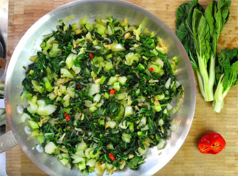 Baby pak choi with salted cod the caribbean way caribbeanpot com