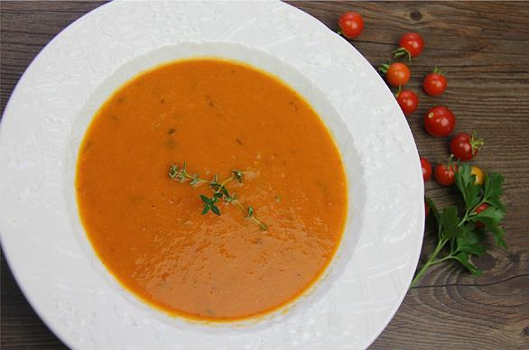 Roasted Tomato Coconut Soup (vegetarian).
