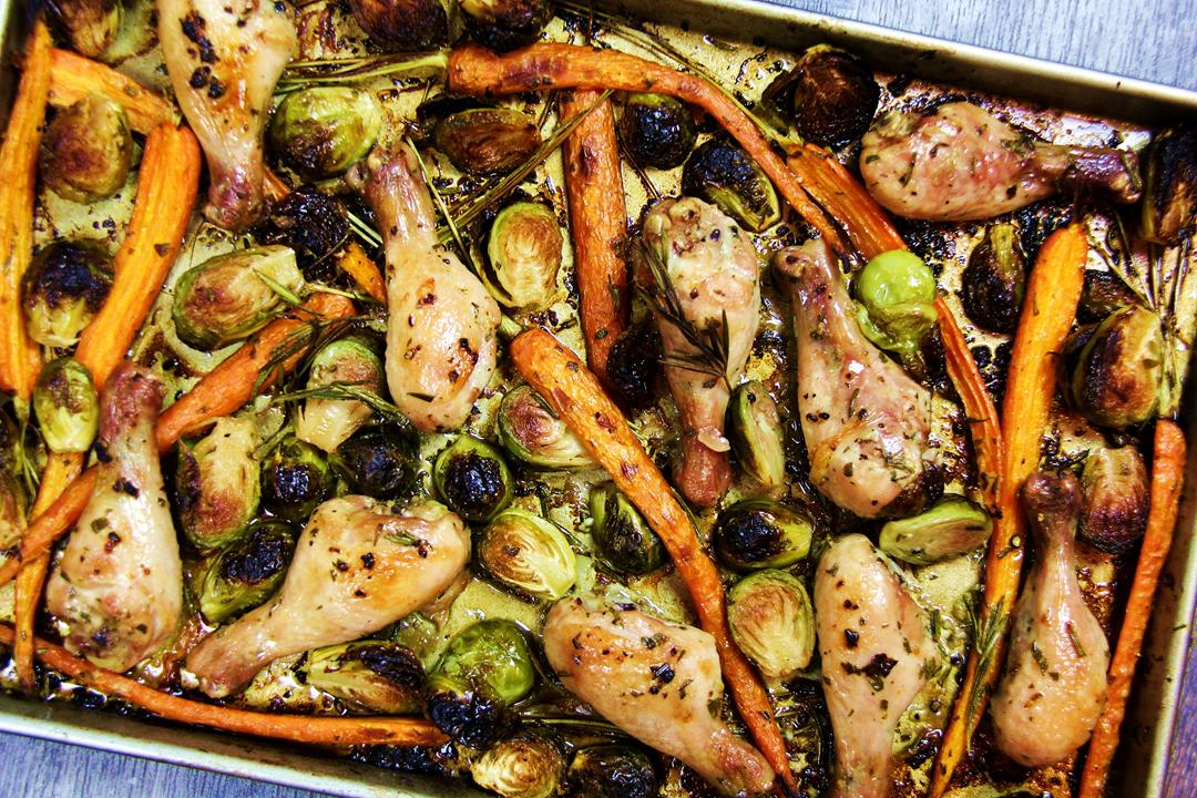 Rosemary Roasted Chicken With Brussels Sprouts.